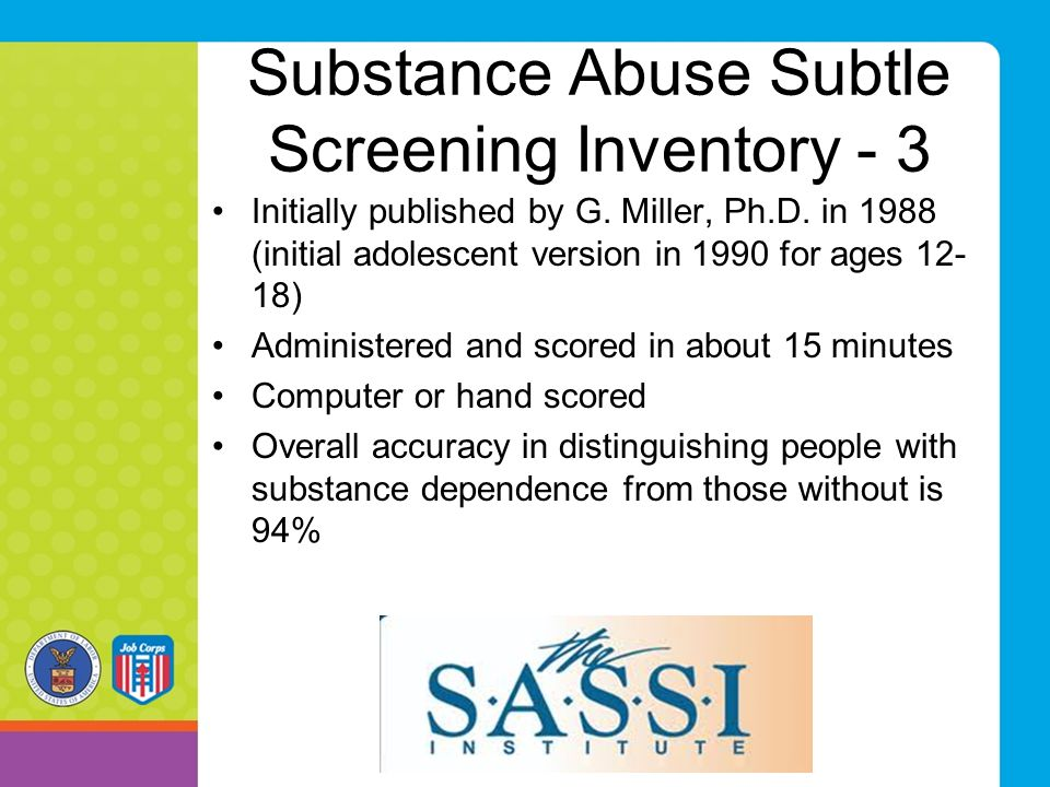Substance Abuse Subtle Screening Inventory - 3