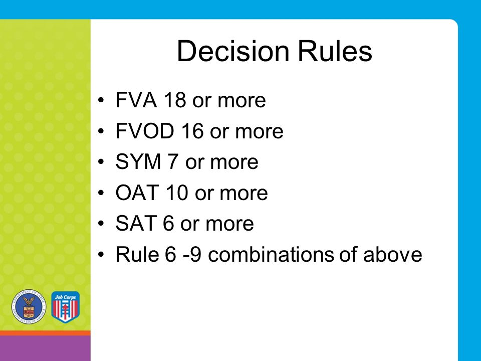 Decision Rules FVA 18 or more FVOD 16 or more SYM 7 or more
