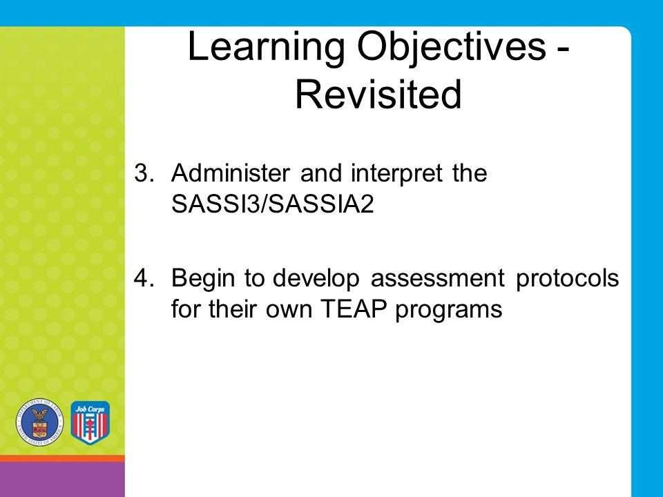 Learning Objectives - Revisited