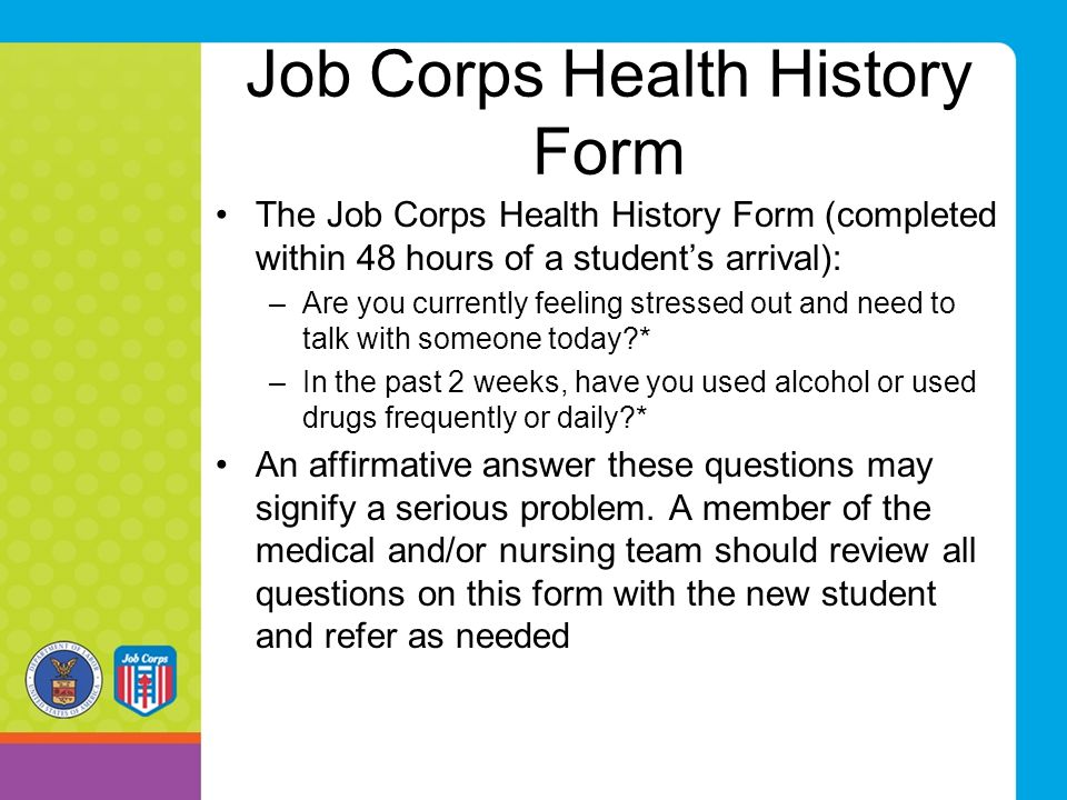 Job Corps Health History Form