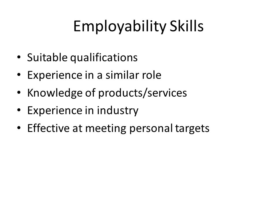 Employability Skills Suitable qualifications