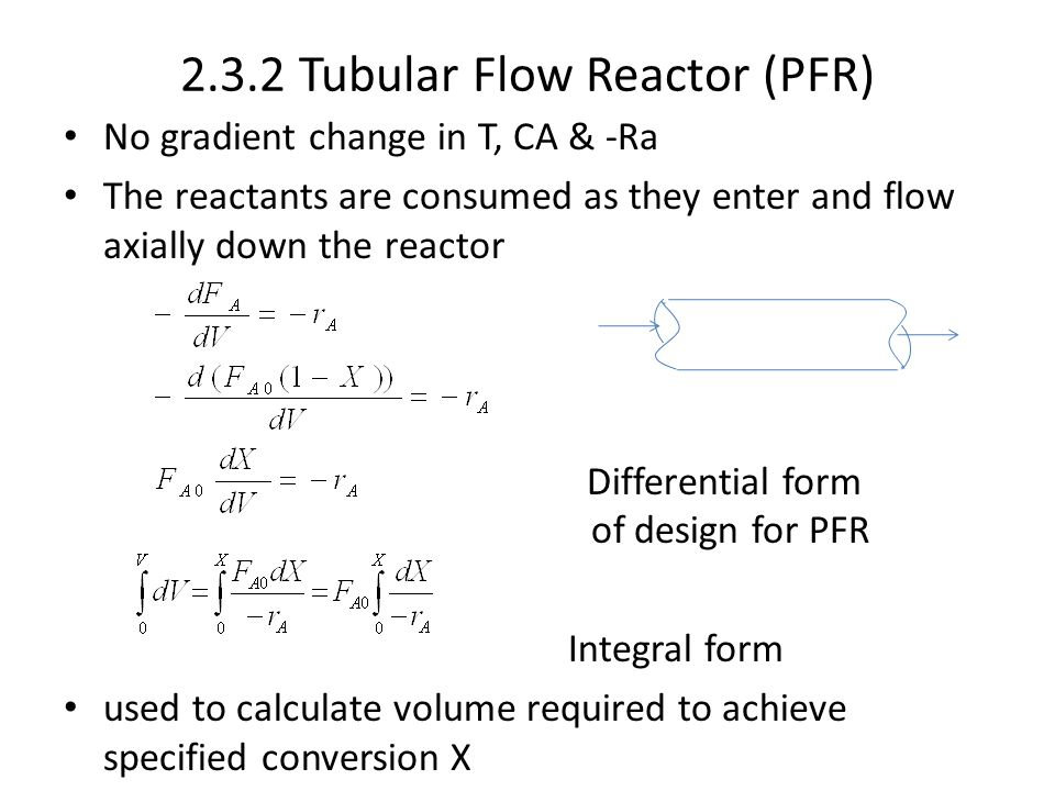 2.3.2 Tubular Flow Reactor (PFR)