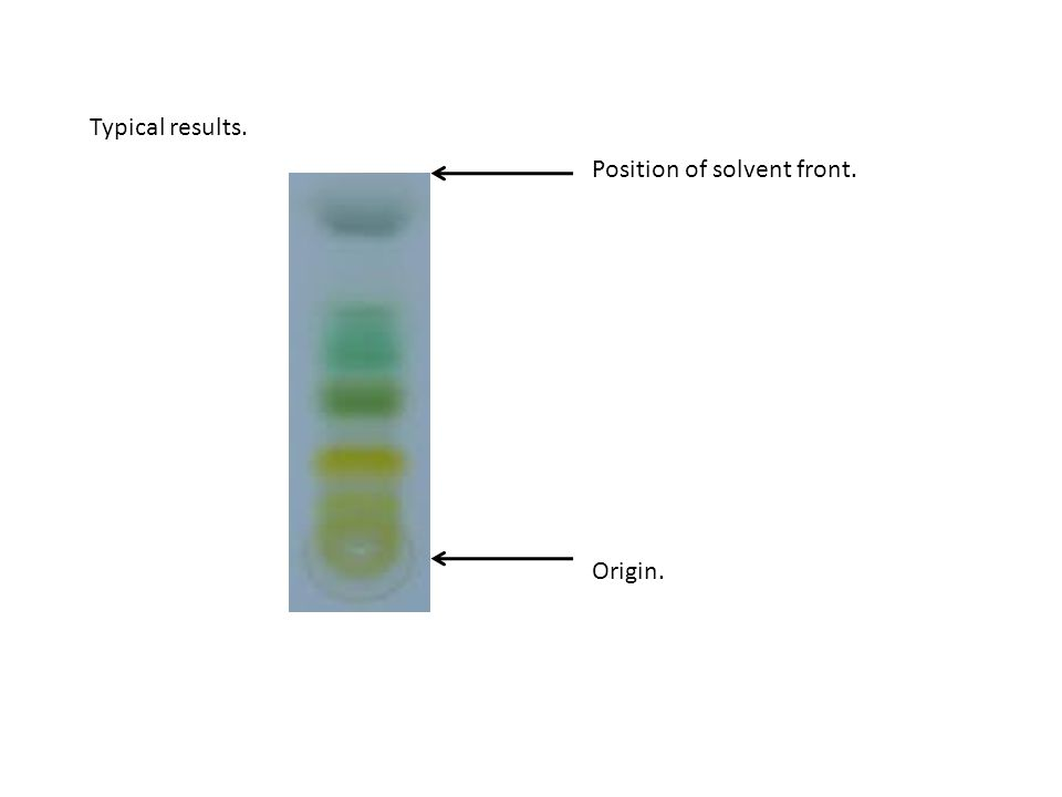 Typical results. Position of solvent front. Origin.