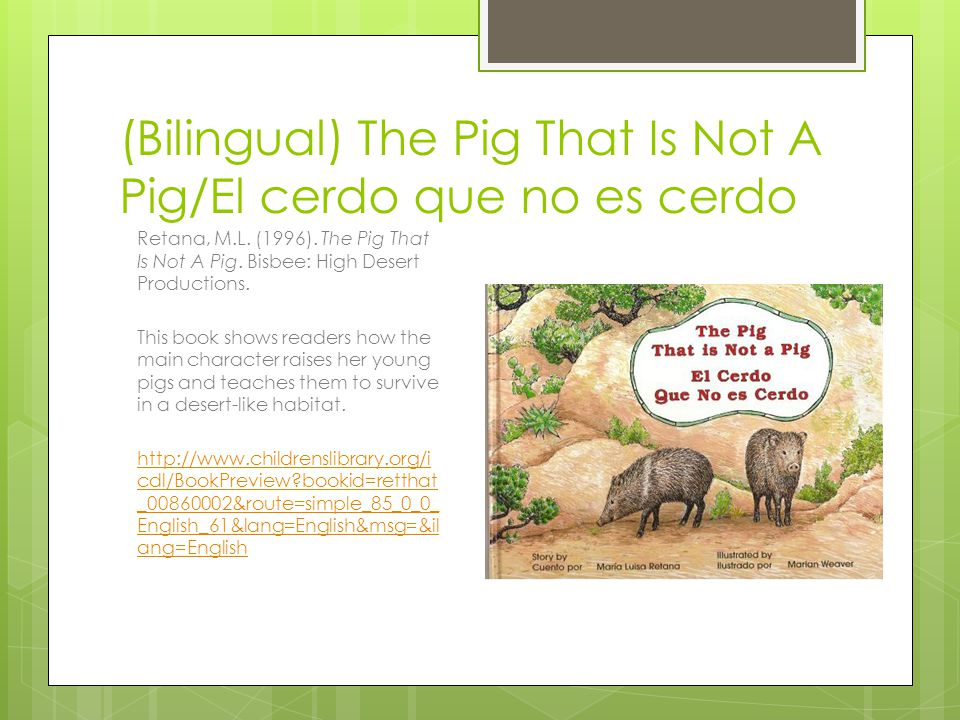 (Bilingual) The Pig That Is Not A Pig/El cerdo que no es cerdo
