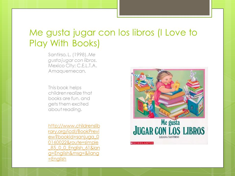 Me gusta jugar con los libros (I Love to Play With Books)
