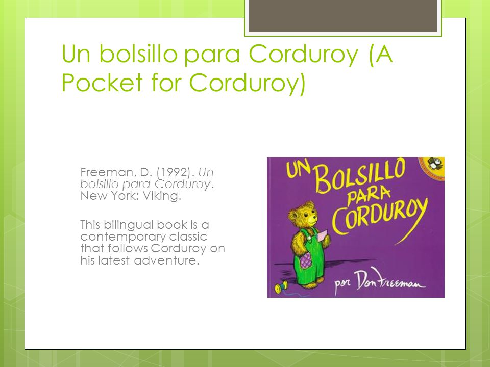 Un bolsillo para Corduroy (A Pocket for Corduroy)