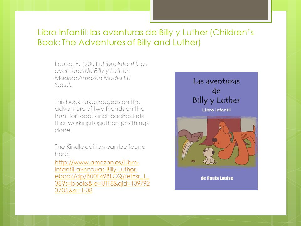 Libro Infantil: las aventuras de Billy y Luther (Children's Book: The Adventures of Billy and Luther)