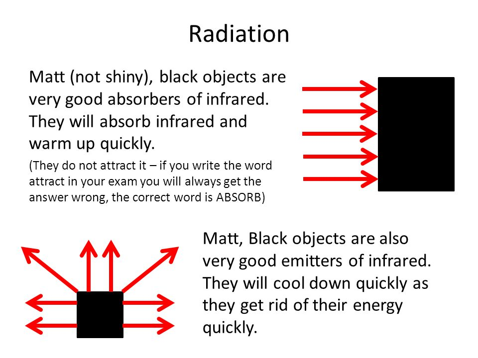 Radiation Matt (not shiny), black objects are very good absorbers of infrared. They will absorb infrared and warm up quickly.