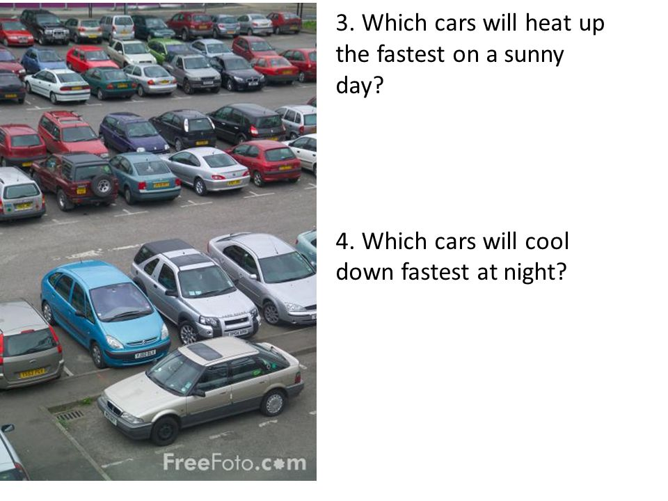 3. Which cars will heat up the fastest on a sunny day