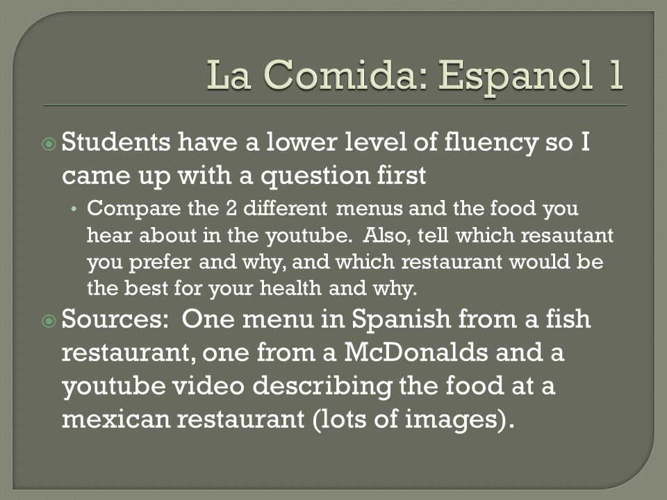 La Comida: Espanol 1 Students have a lower level of fluency so I came up with a question first.