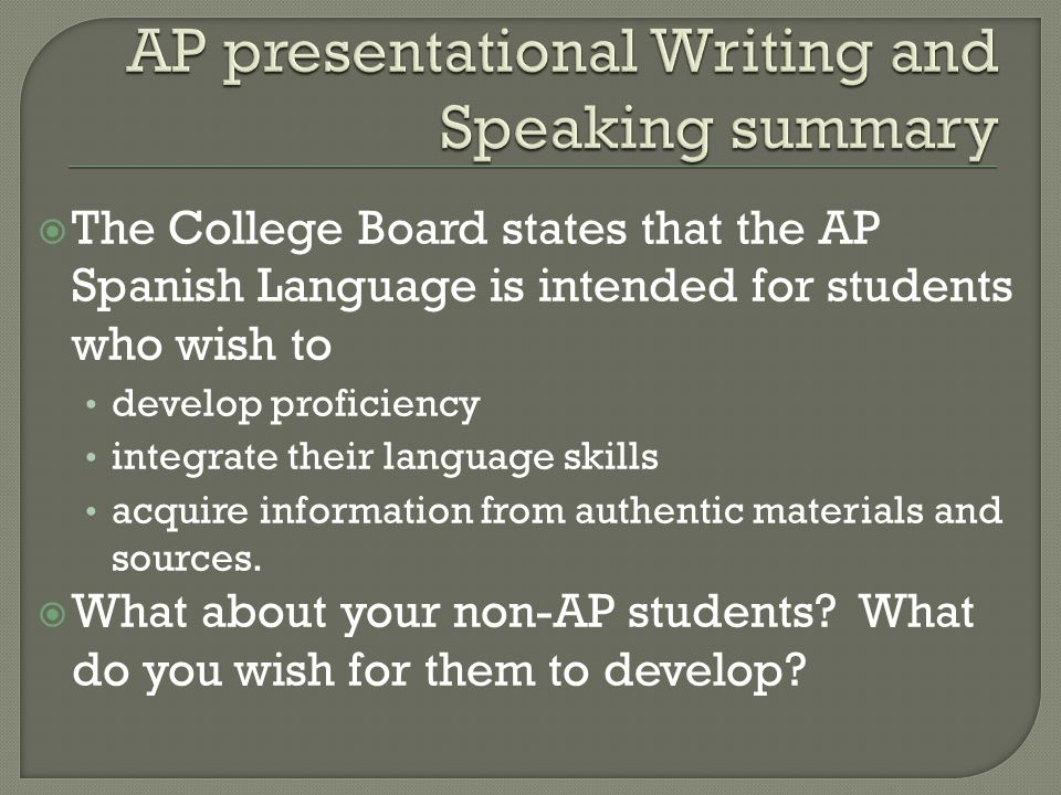 AP presentational Writing and Speaking summary