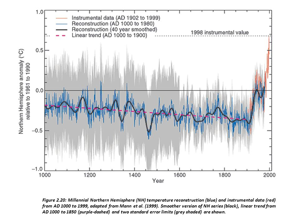 Figure 2.20: Millennial Northern Hemisphere (NH) temperature reconstruction (blue) and instrumental data (red) from AD 1000 to 1999, adapted from Mann et al.