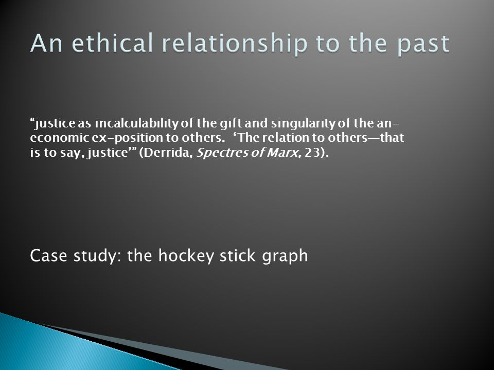 An ethical relationship to the past