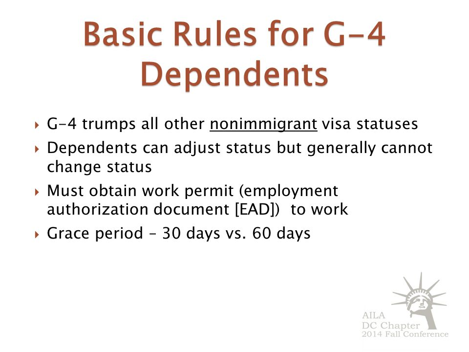 Basic Rules for G-4 Dependents
