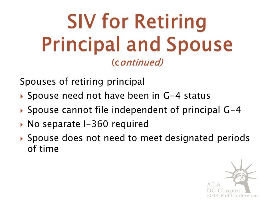 SIV for Retiring Principal and Spouse (continued)
