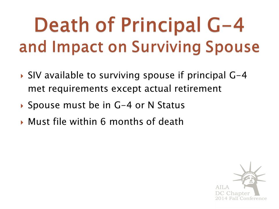 Death of Principal G-4 and Impact on Surviving Spouse