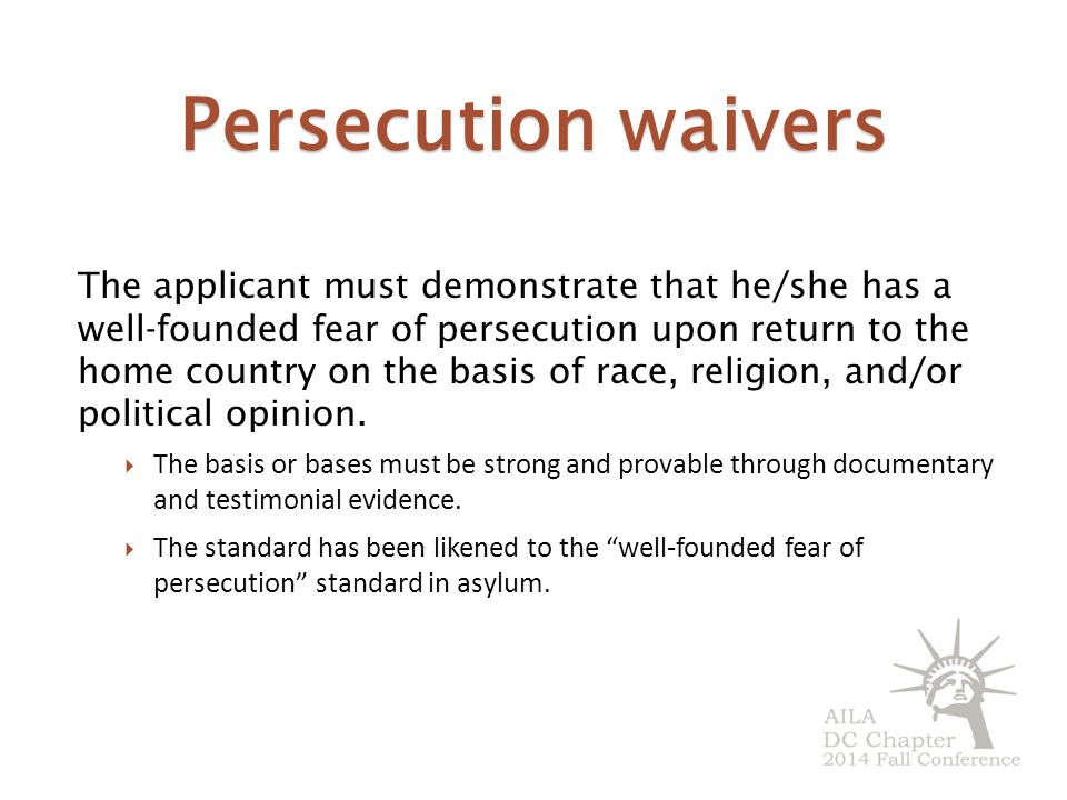 Persecution waivers