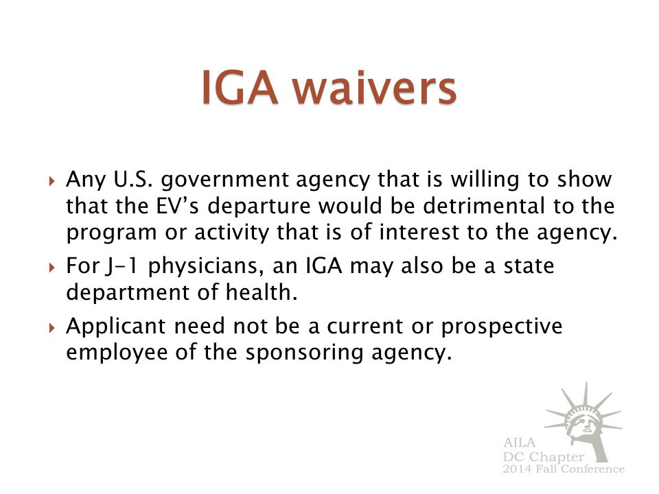 IGA waivers