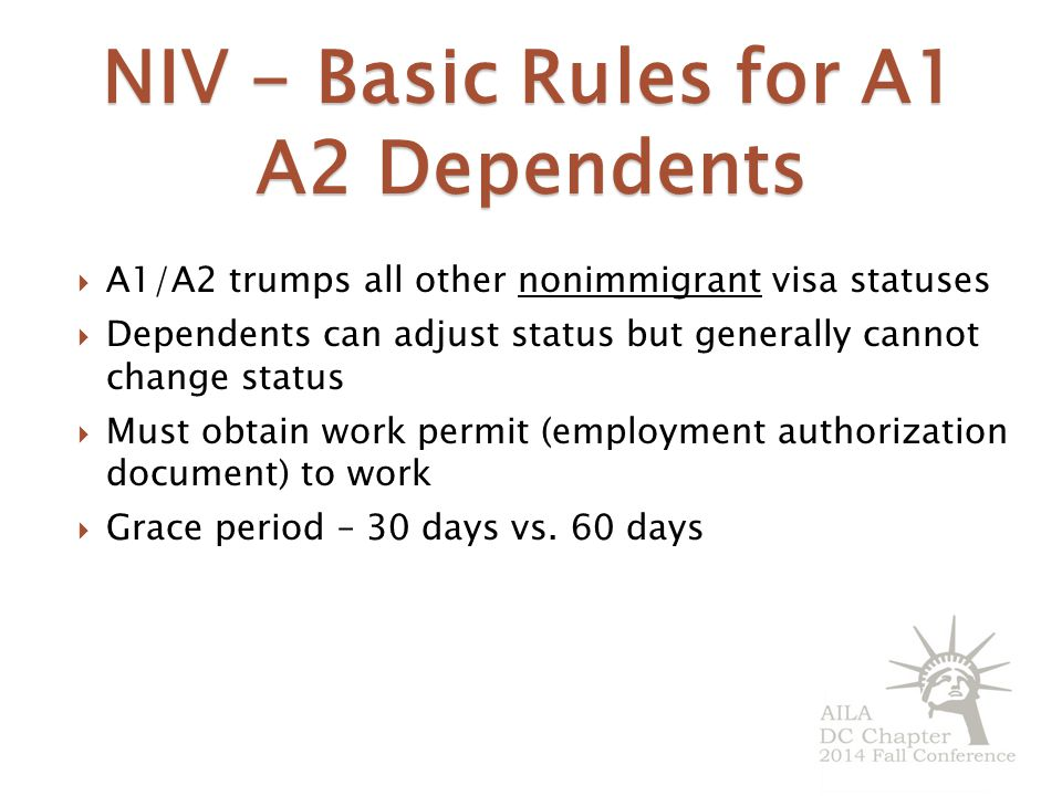 NIV - Basic Rules for A1 A2 Dependents