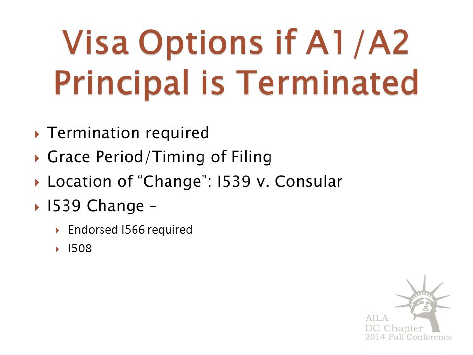 Visa Options if A1/A2 Principal is Terminated