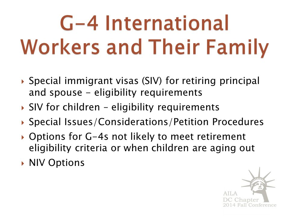 G-4 International Workers and Their Family