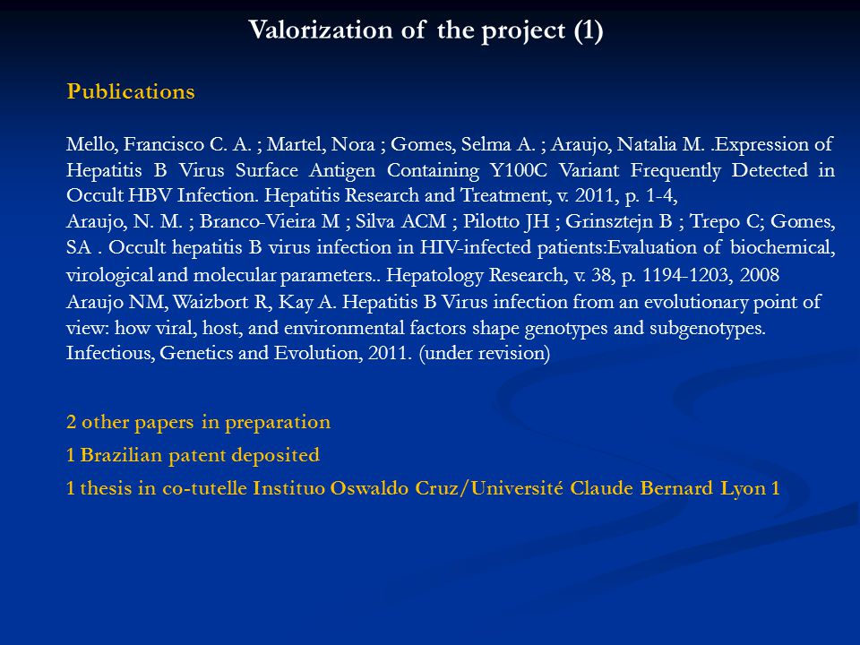 Valorization of the project (1)