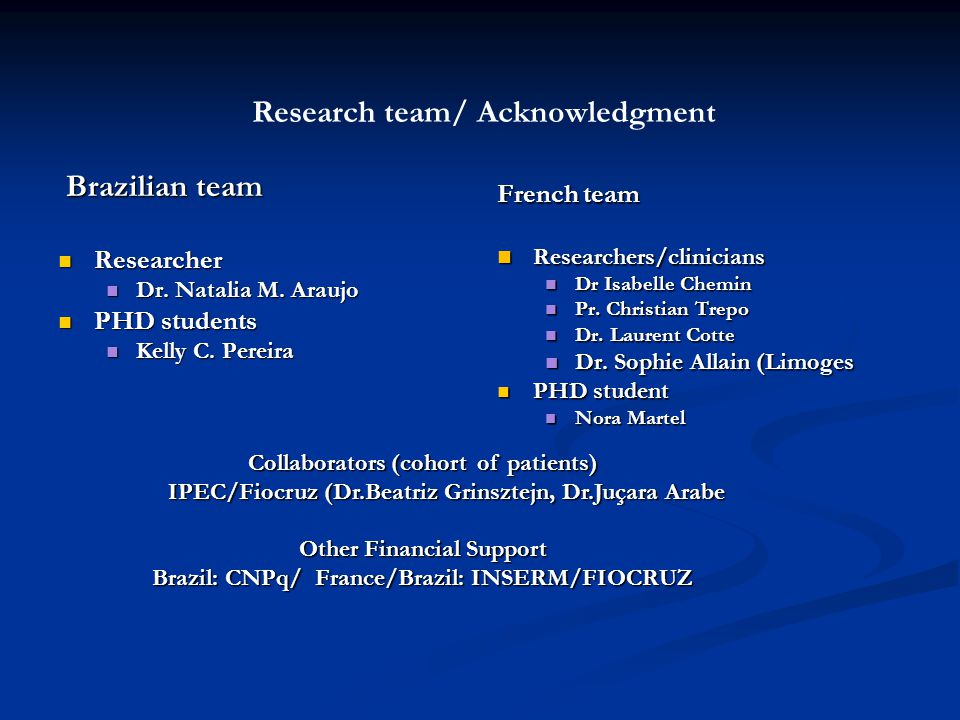 Research team/ Acknowledgment