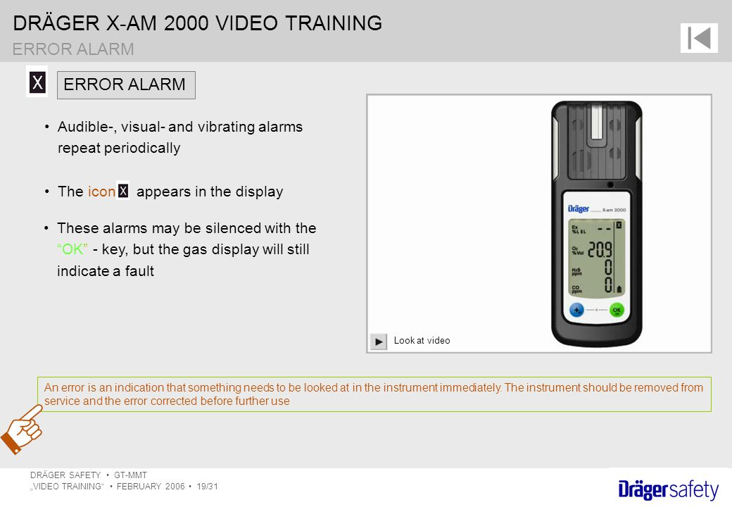 ERROR ALARM ERROR ALARM Audible-, visual- and vibrating alarms