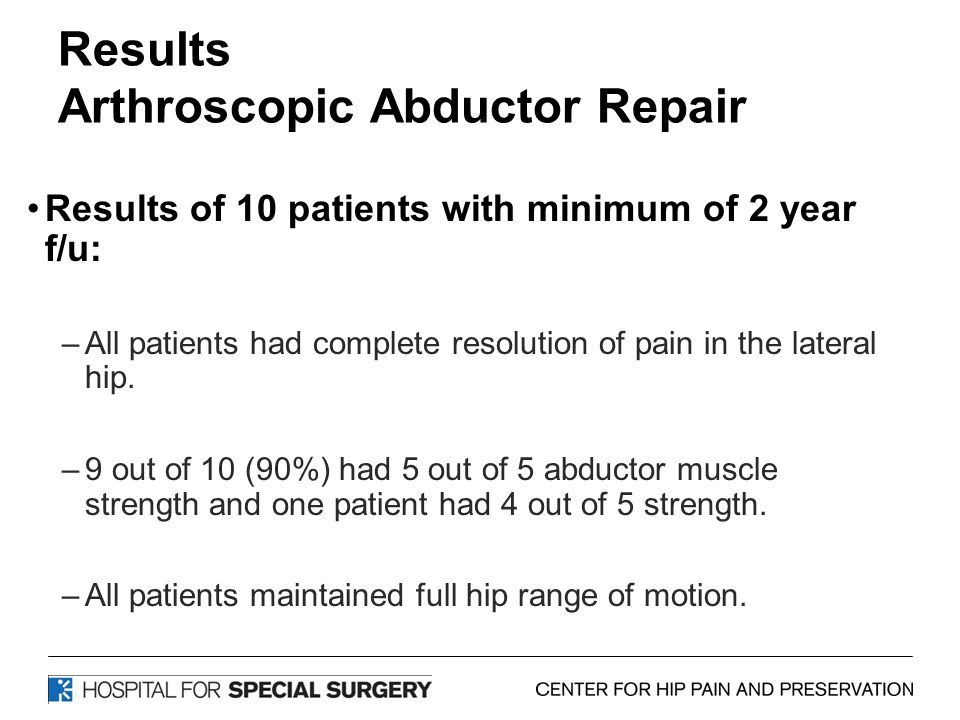 Results Arthroscopic Abductor Repair