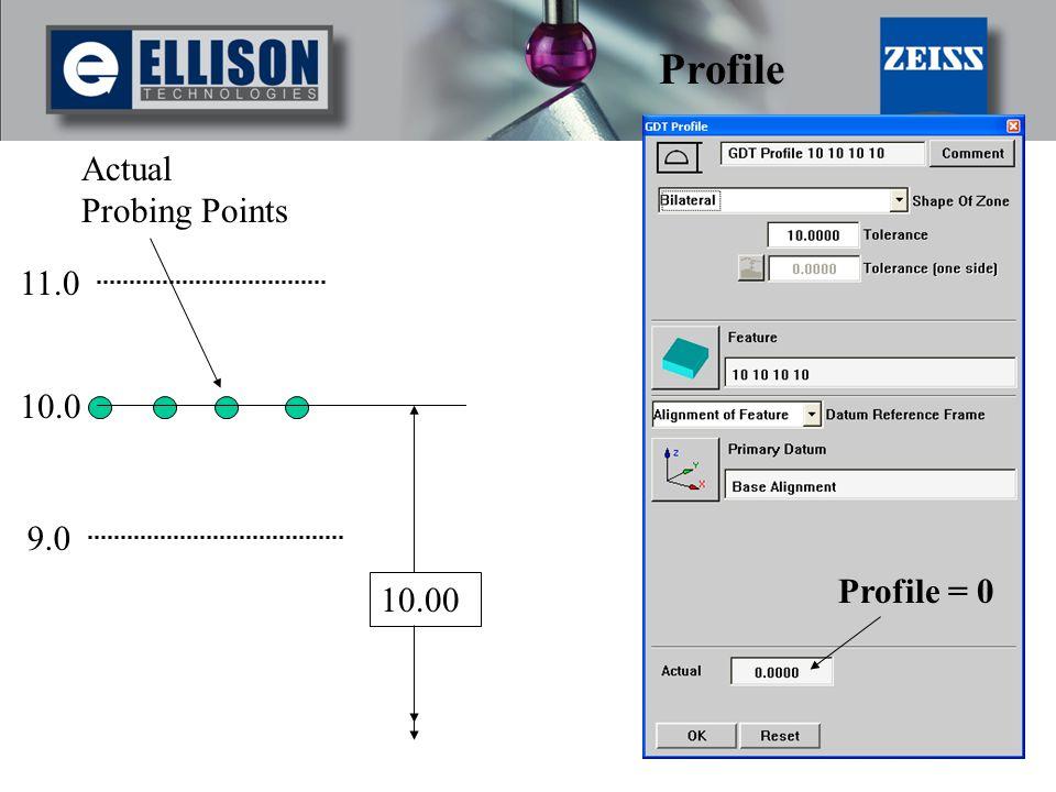 Profile Actual Probing Points 11.0 10.0 9.0 Profile = 0 10.00
