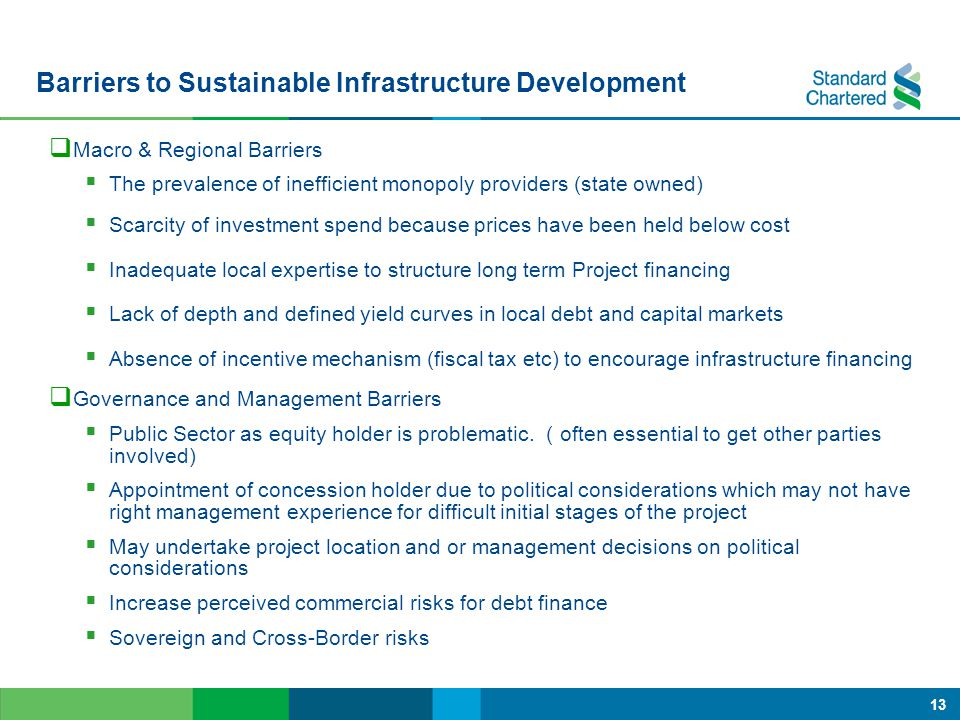 Barriers to Sustainable Infrastructure Development