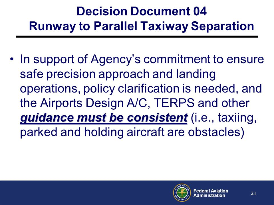 Decision Document 04 Runway to Parallel Taxiway Separation