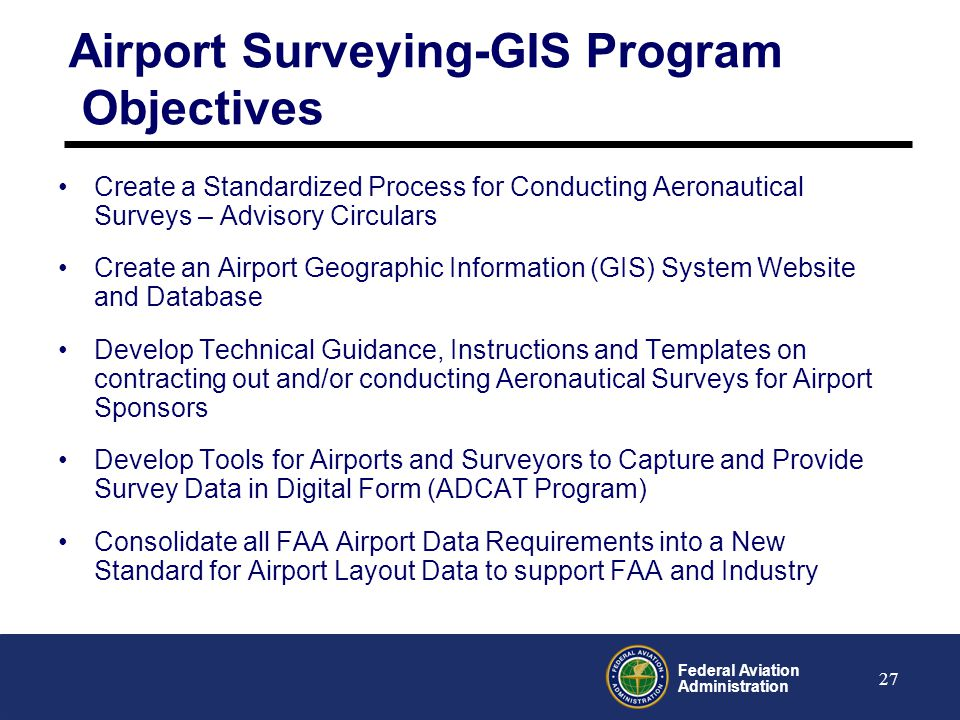 Airport Surveying-GIS Program Objectives