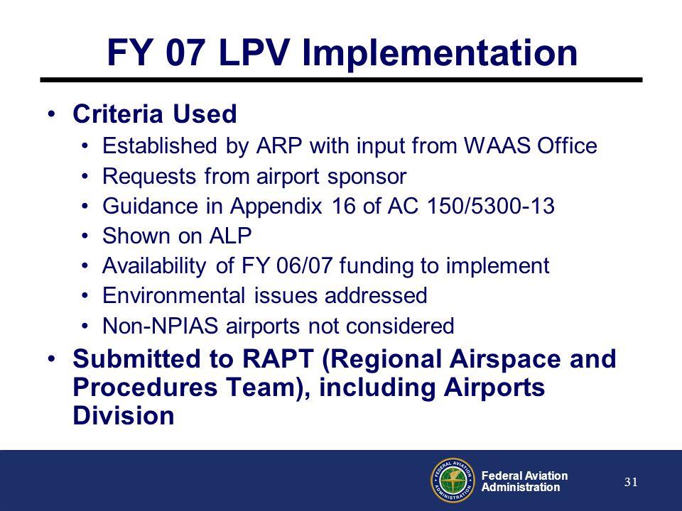FY 07 LPV Implementation Criteria Used