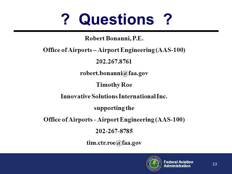 Questions Robert Bonanni, P.E.