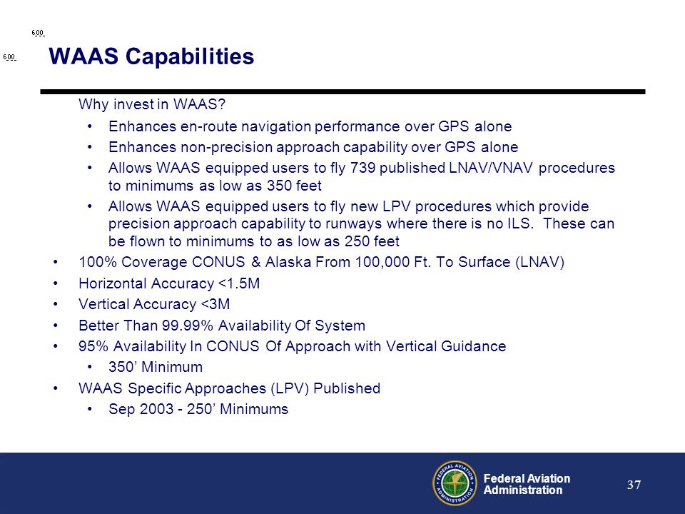 WAAS Capabilities Why invest in WAAS