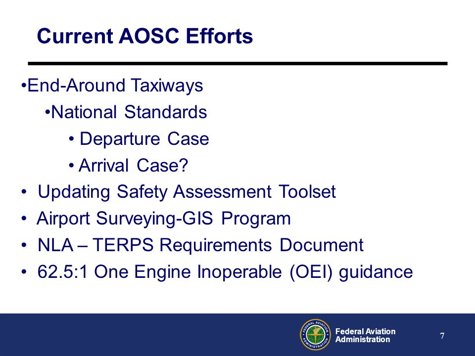Current AOSC Efforts End-Around Taxiways National Standards