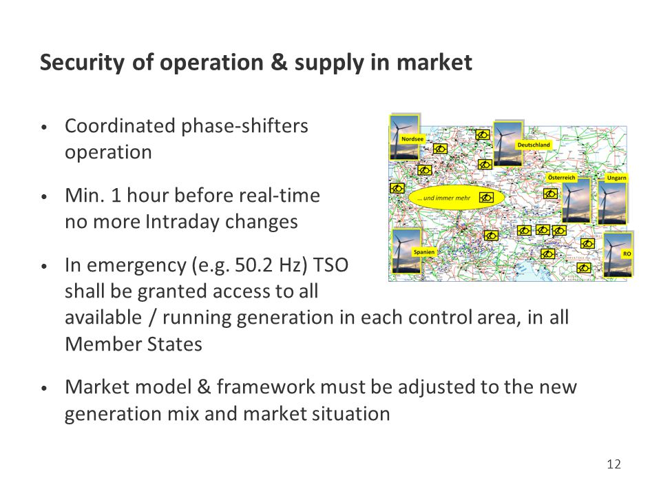 Security of operation & supply in market