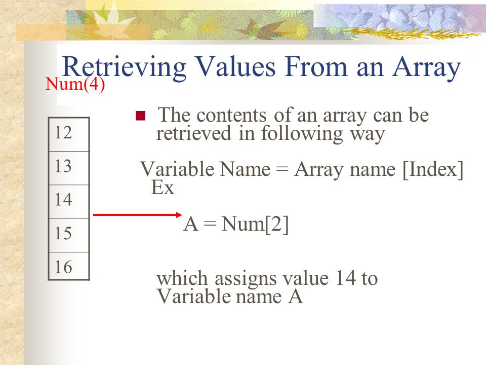 Retrieving Values From an Array