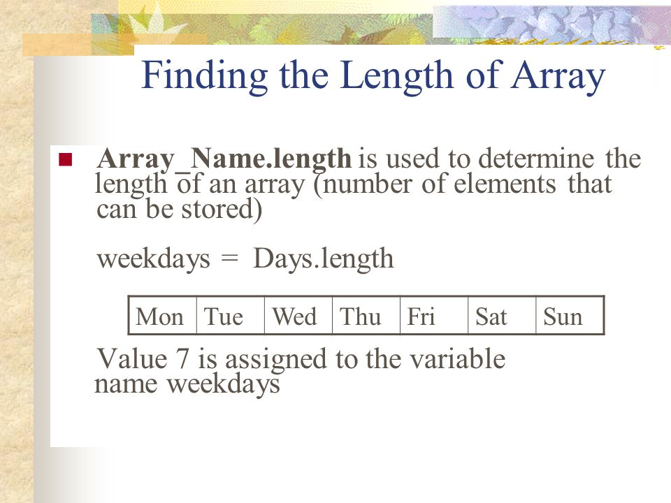 Finding the Length of Array