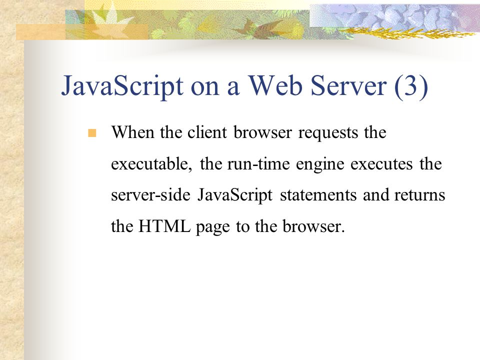 JavaScript on a Web Server (3)