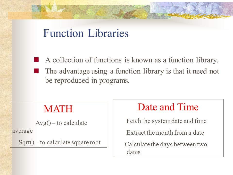 Function Libraries Date and Time MATH