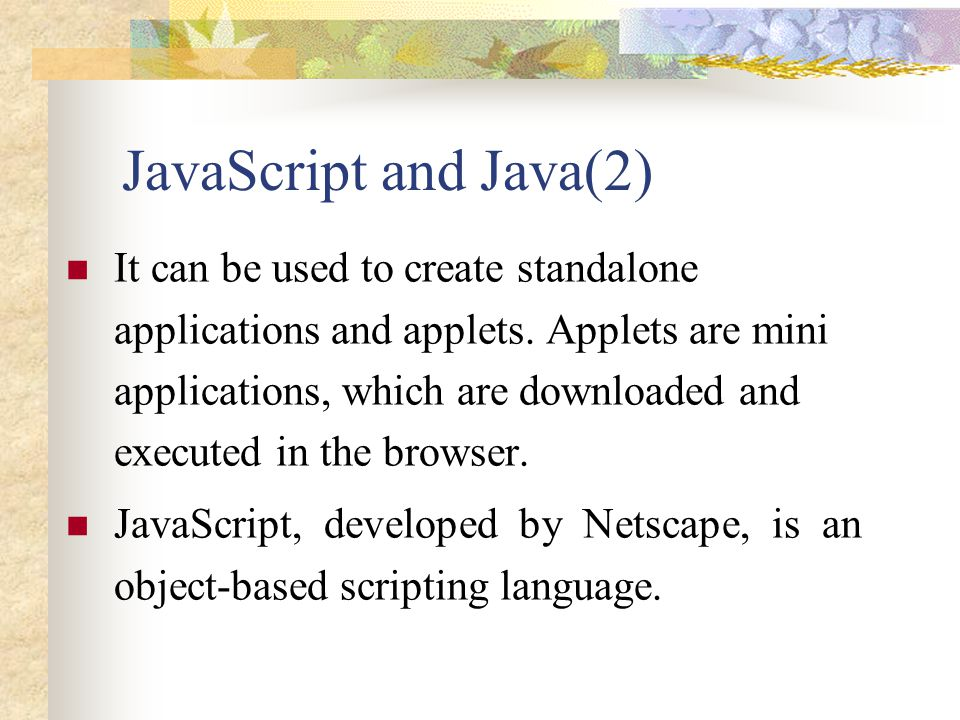 JavaScript and Java(2)