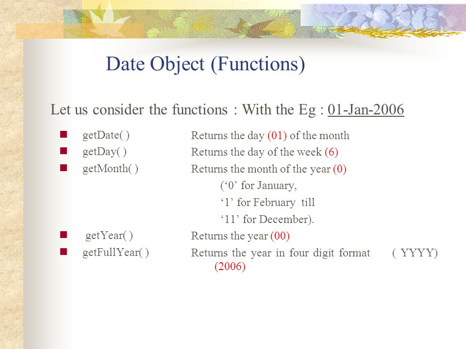 Date Object (Functions)