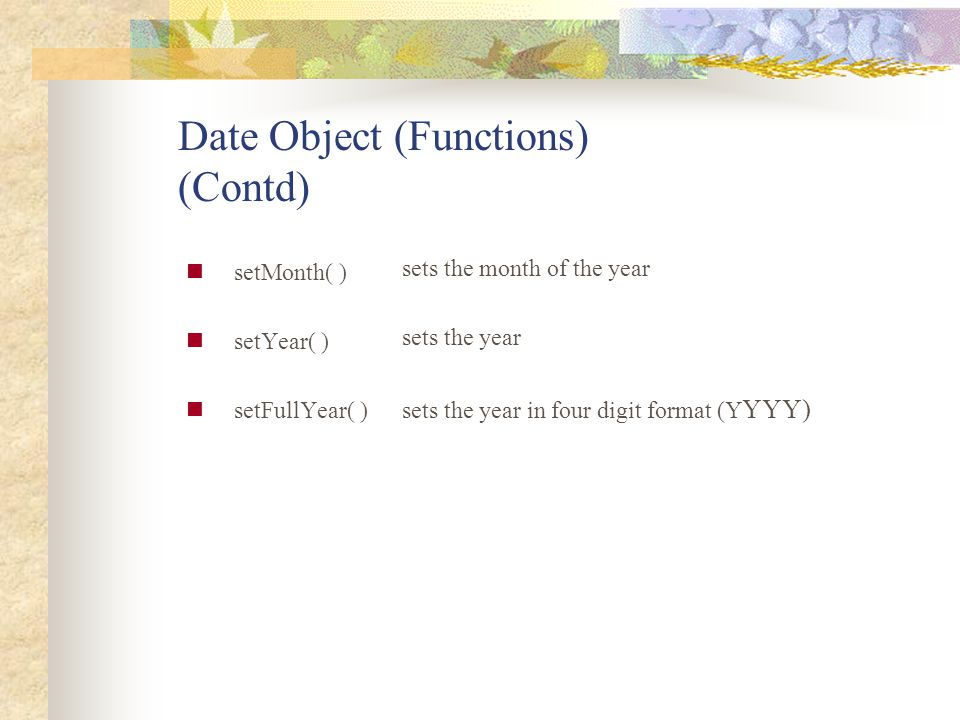 Date Object (Functions) (Contd)