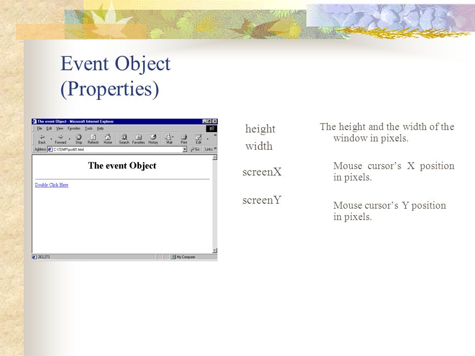 Event Object (Properties)
