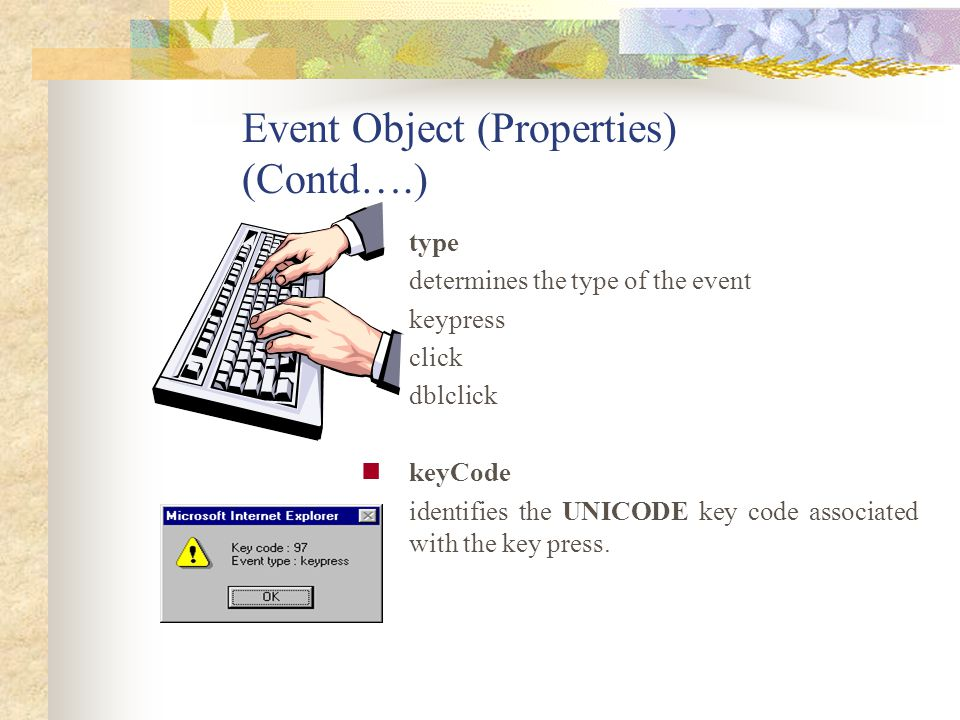 Event Object (Properties) (Contd….)