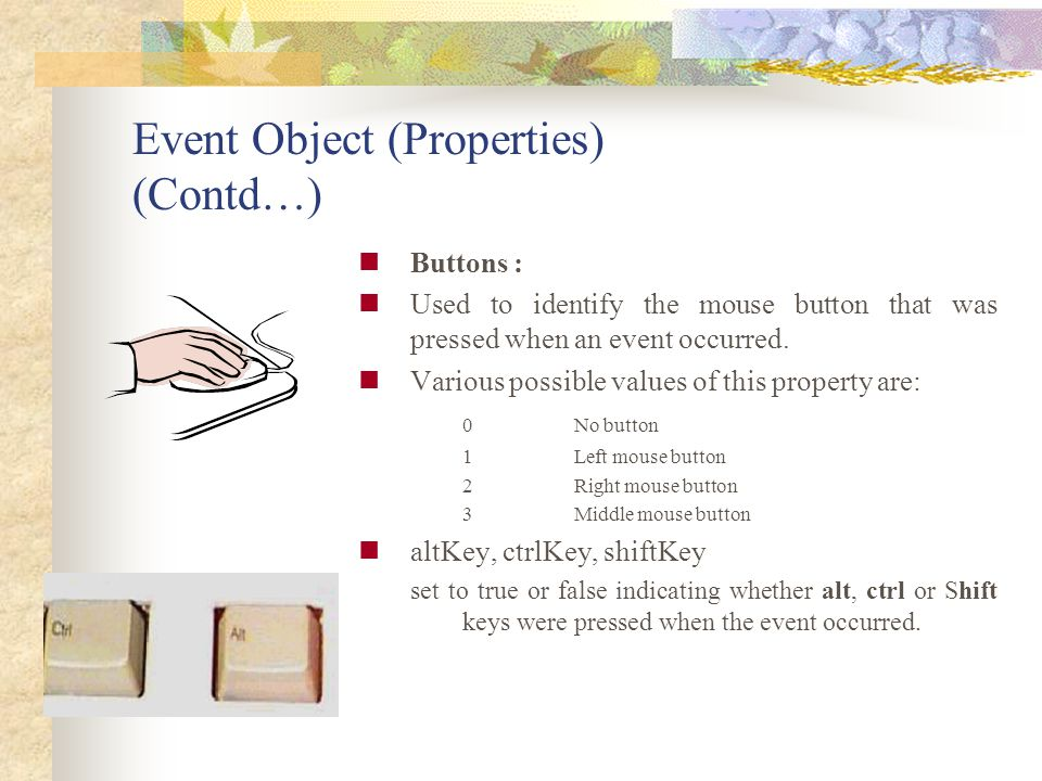 Event Object (Properties) (Contd…)