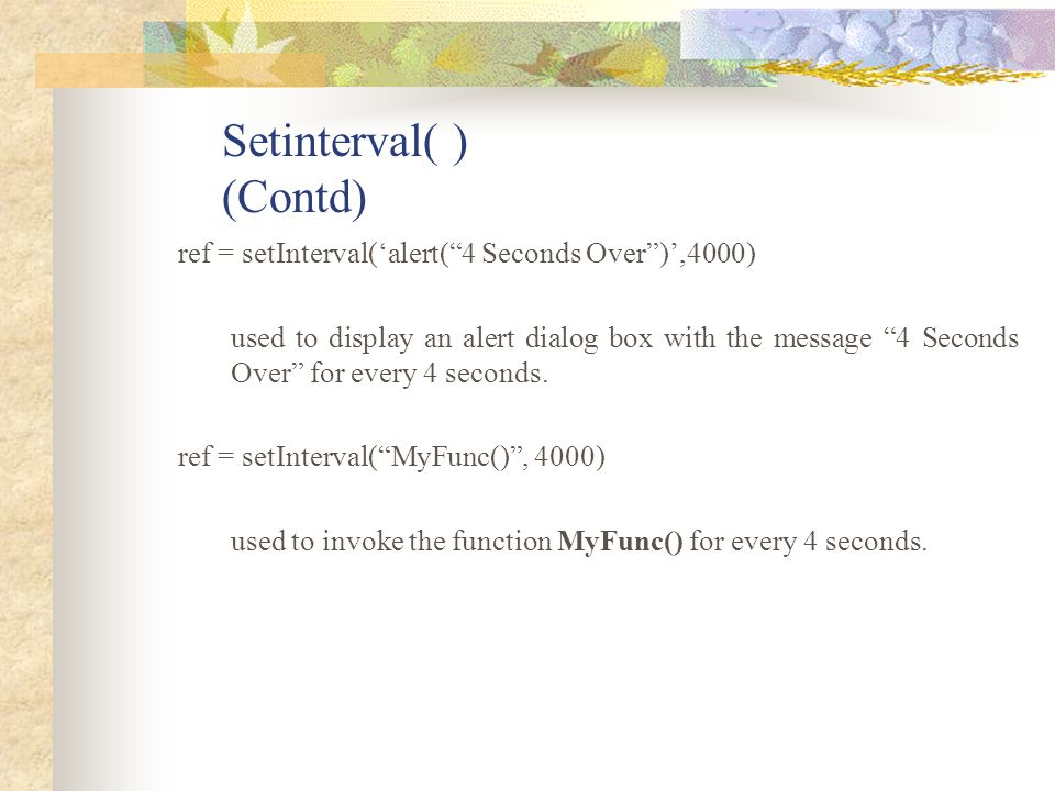 Setinterval( ) (Contd)