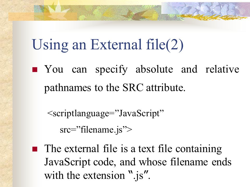 Using an External file(2)